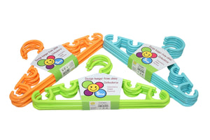 Childrens Toddlers Plastic Assorted Colour Wardrobe Hangers Easy Hanging Clothes 5 Pack  6224 (Parcel Rate)