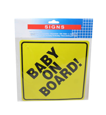 'Baby On Board' Safety First Baby Car Window Yellow Black Baby Safety Card 15cm 6247 (Large Letter Rate)
