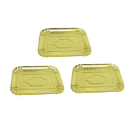 Gold Plated Paper Chrome Party Celebrations Disposable Plates 3 Pack Gold 24.5 x 19cm  6277