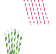 Paper Retro Stripe Straws Vintage Polka Party Wedding Outdoor Cocktail Straws 6278
