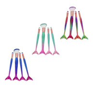 High Quality Professional Makeup Ladies Mua Brushes Mermaid Tail Coloured 4 Pack 6286
