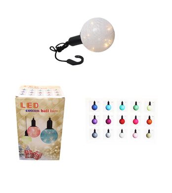 (M) Cotton Ball Ceiling Lamp Battery Operated String LED Indoor Hook Lamp Light Req 3 x AAA 6332 (Parcel Rate)