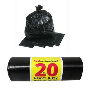 SQ Pro Heavy Duty Refuse Bin Bags Black Indoor Outdoor Use 70 Litre 70cm x 83cm 6580 (Parcel Rate)