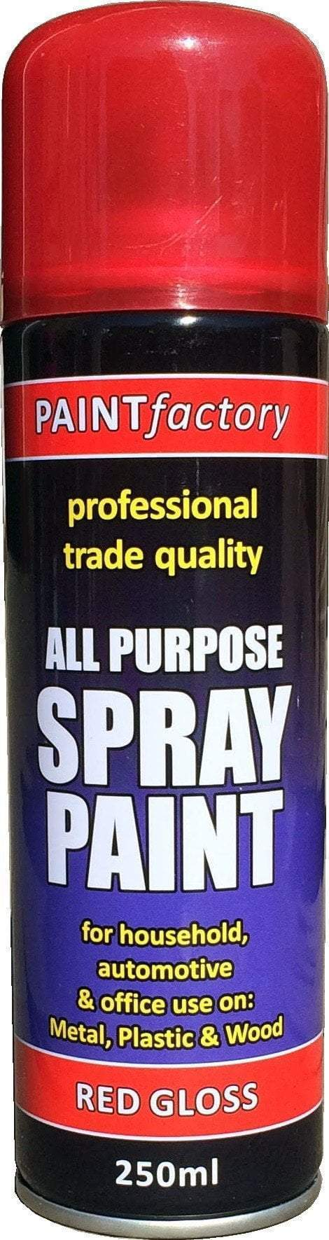 Paint Factory All Purpose Spray Paint Red Gloss 250ml  7143 (Parcel Rate)