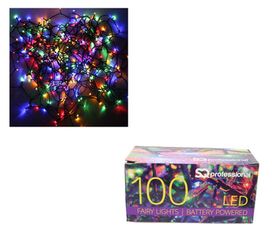 100 LED Multi Colored Fairy Lights Christmas Indoor Outdoor Fairy Lights Battery Powered  7453 (Parcel Rate)