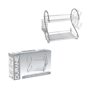 2 Tier Dish Drainer Rack With Cutlery Rack Holds Plates Mugs Cups Anti Slip Chrome Finish 9168 (Parcel Rate)