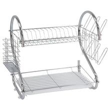 Load image into Gallery viewer, 2 Tier Dish Drainer Rack With Cutlery Rack Holds Plates Mugs Cups Anti Slip Chrome Finish 9168 (Parcel Rate)