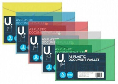 A5 Plastic Document File Wallet Assorted Colour Home Business Wallet x 1 P2770 (Large Letter Rate)