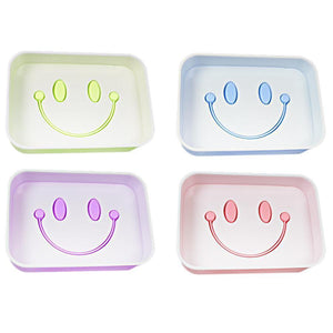 Bathroom Smiley Face Plastic Soap Box Assorted Colours 13cm x 9cm 5057 (Parcel Rate)