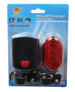 Bicycle White LED Head Light and 5 RED Trail Lights Safety Hazard Bicycle Light 5444 (Parcel Rate)