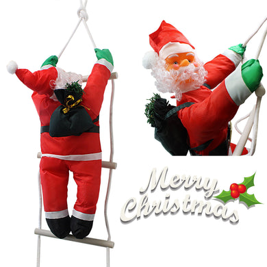 Christmas Santa Claus Climbing On Rope Ladder Figure Xmas Holiday Decor 50cm 2730 (Parcel Rate)