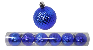 Christmas Tree Blue Bauble Tree Decoration 6cm Pack of 6 1444 (Parcel Rate)