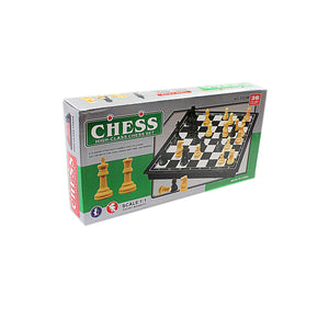 High Class Chess Set Ivory Black 36 Pieces Magnetic Board Small 19.3 x 19.3cm 3834 (Parcel Rate)