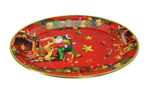 Oval Shaped Christmas Rich Red Plastic Plate/ Tray 28cm x 38cm   4786 (Parcel Rate)