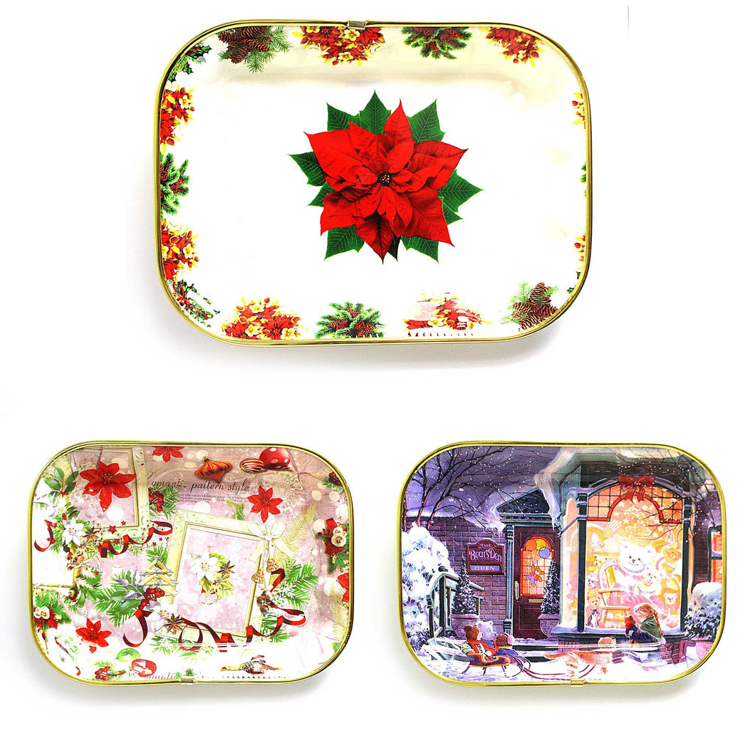 Designer Tray Rectangular Xmas Designs 8773 (Parcel Rate)