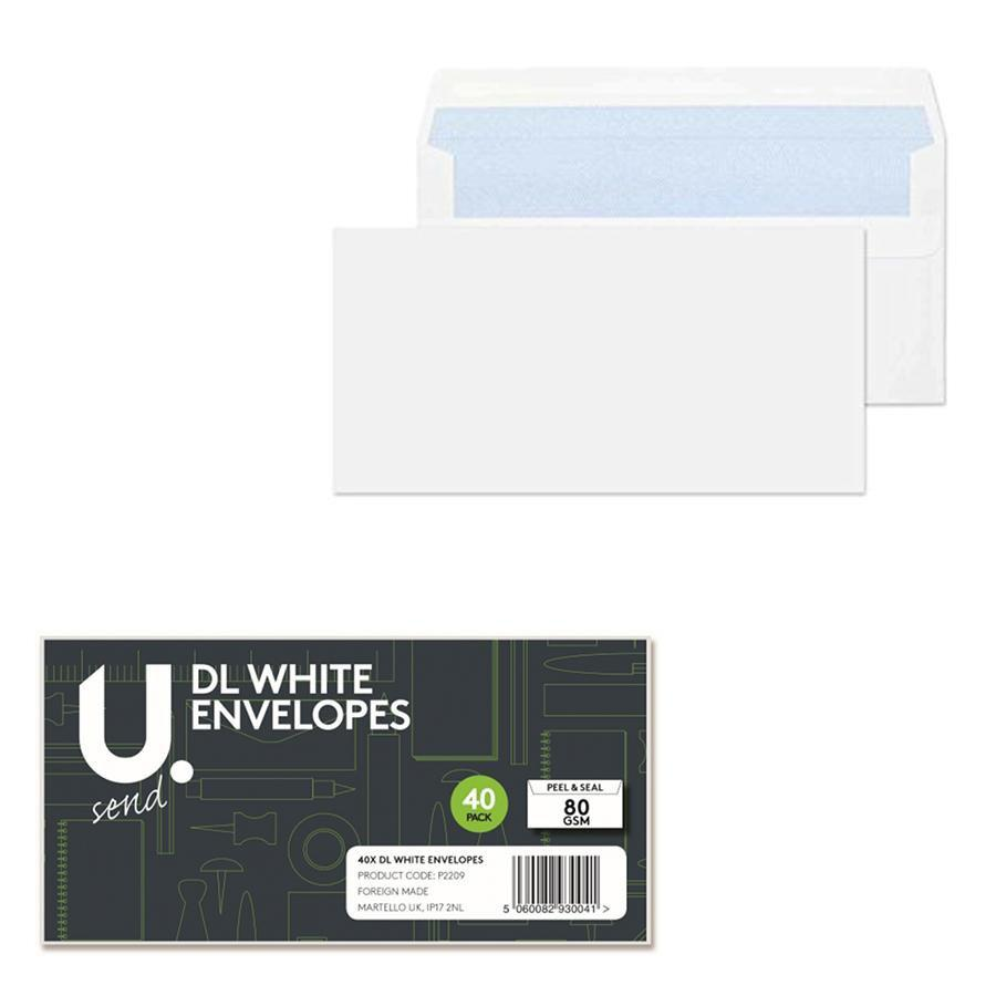 40 Pack DL White Envelopes Easy Peel And Seal Home Office Use P2209 (Parcel Rate)