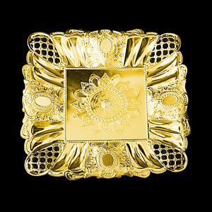 Beautiful Fancy Designer Serving Tray Silver Gold 28cm Home 2753 (Parcel Rate)