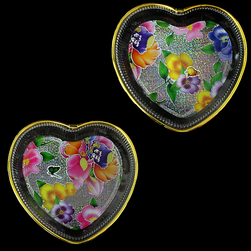 Designer Tray Heart Shape Flower Design 0732 (Parcel Rate)