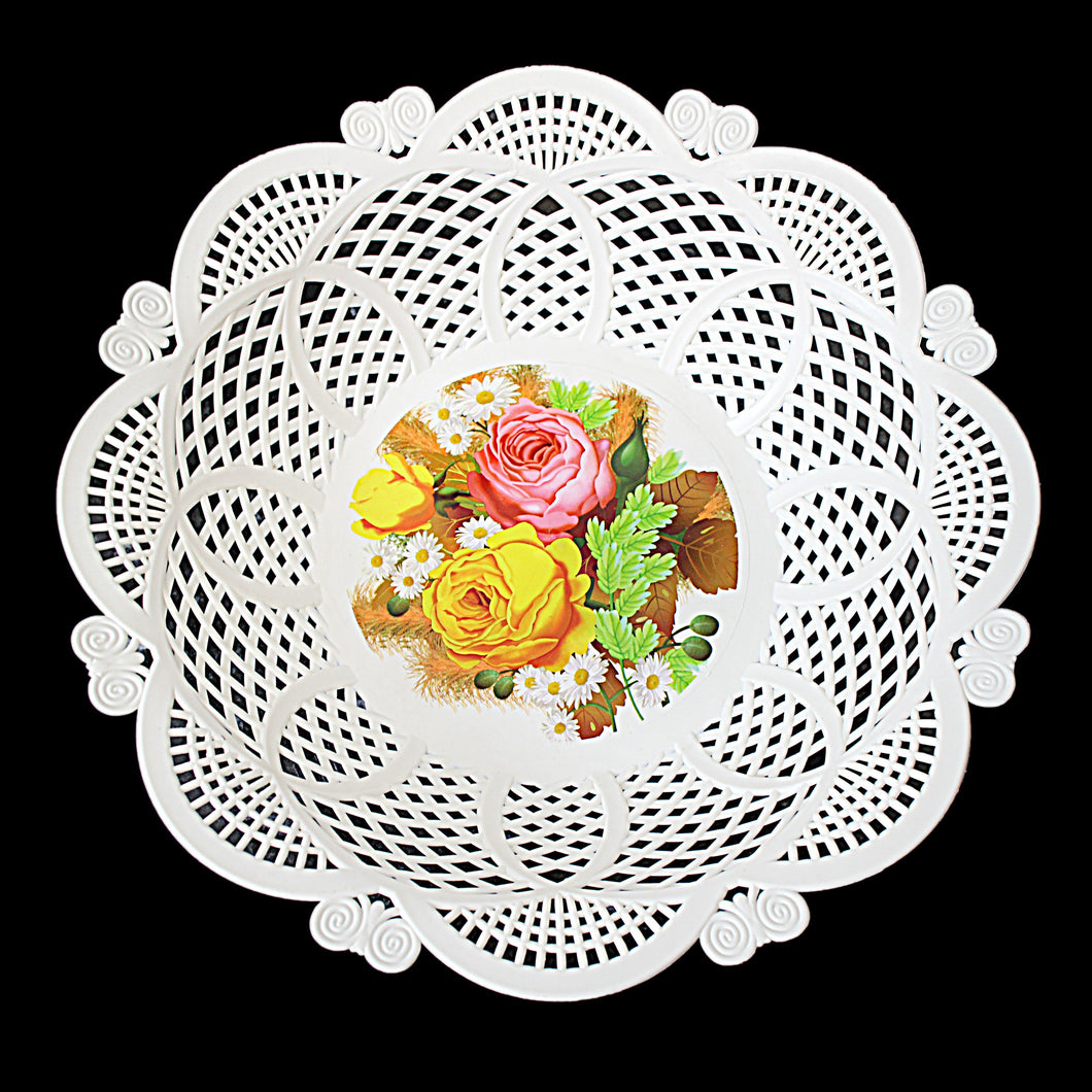 Fancy Floral Plastic Serving Dish Tray Curved Edges 30cm 3214 (Parcel Rate)
