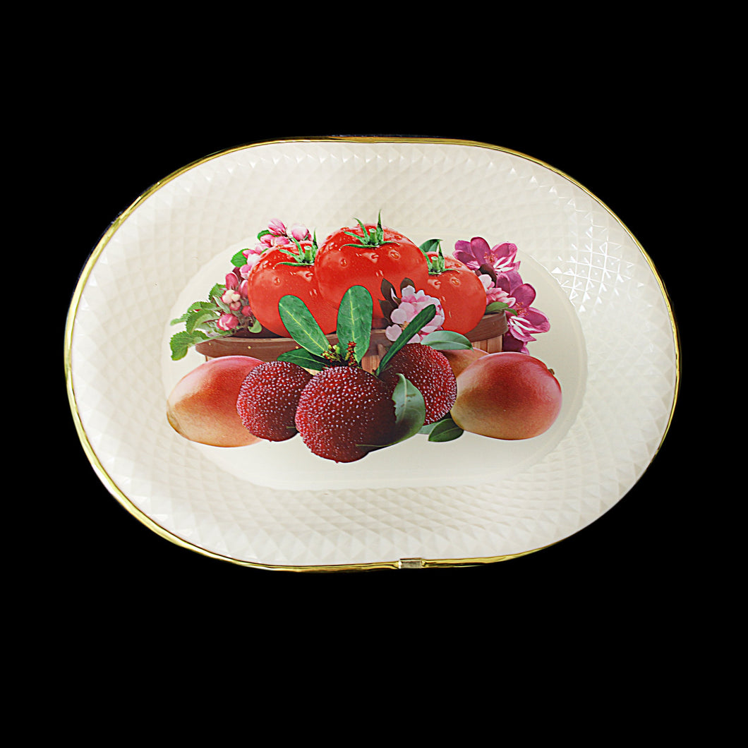 Fancy Floral Fruit Printed Plastic Serving Dish Tray Approx 35cm 1091 (Parcel Rate)