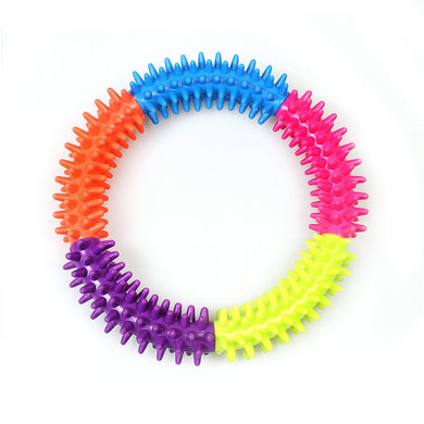 Soft Rubber Dental Dog Ring Toy Puppy Teeth Cleaning Multi Ring  4615 (Large Letter Rate)