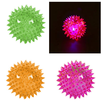 1 Light Up Spikey LED Ball Dog / Cat Flashing Sensory Fun Ball 0059 (Parcel Rate)