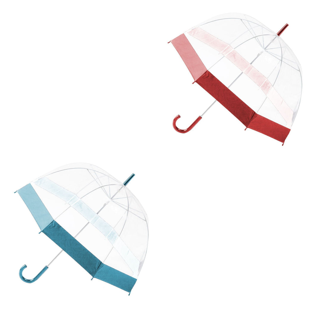Quality Transparent Umbrella Dome Shape With Border Walking Rain Brolly 23'' 1926 (Parcel Rate)