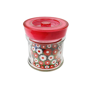Floral Red/ Blue Glass Jar Kitchen Multipurpose Use 1.2 Litres k4076 (Parcel Rate)