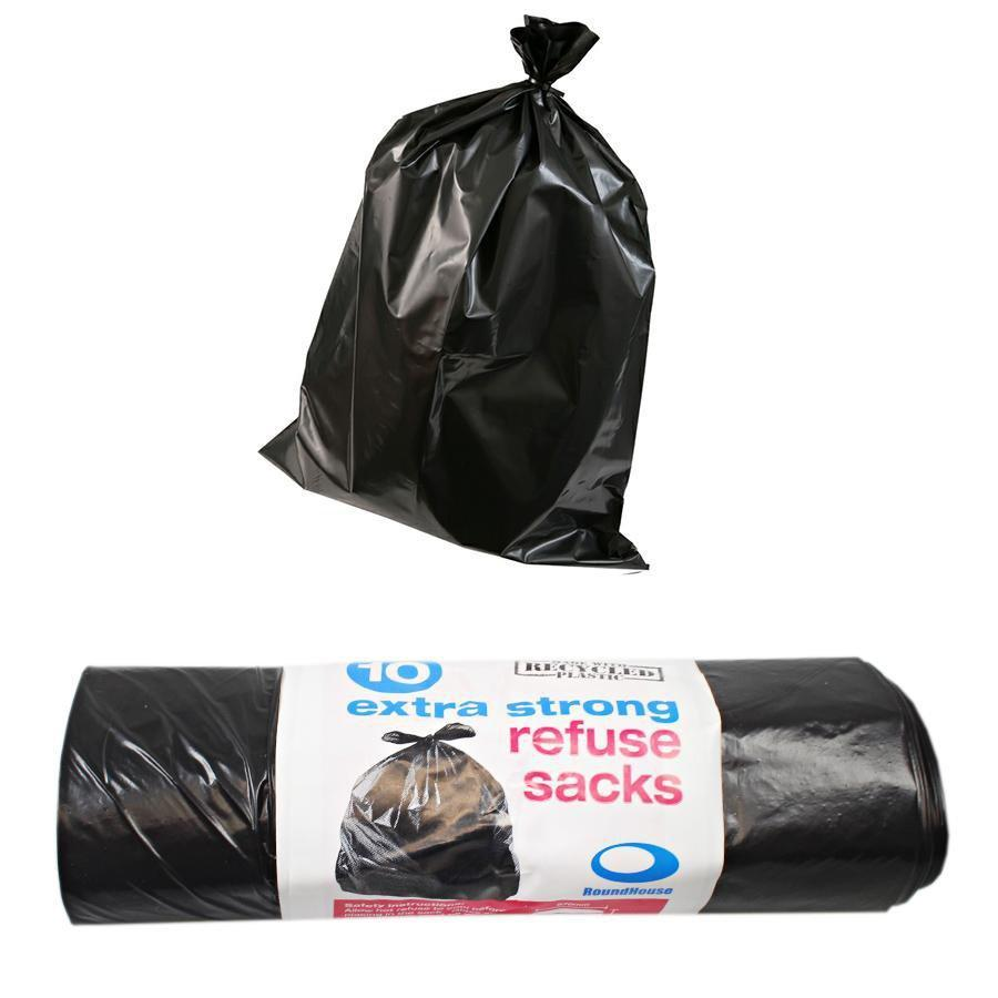 Heavy Duty Extra Strong Storm Black Refuse Sacks 10 Pack Fst1436 (Parcel Rate)
