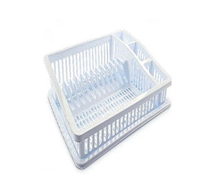 Large White Plastic Dish Drainer With Water Tray Kitchen Home D07105 (Parcel Rate)