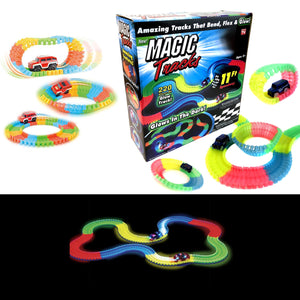 Exclusive Magic Tracks 220 Pieces Glow In The Dark Light Up 11Ft Speedway Race Track    4909 (Parcel Rate)
