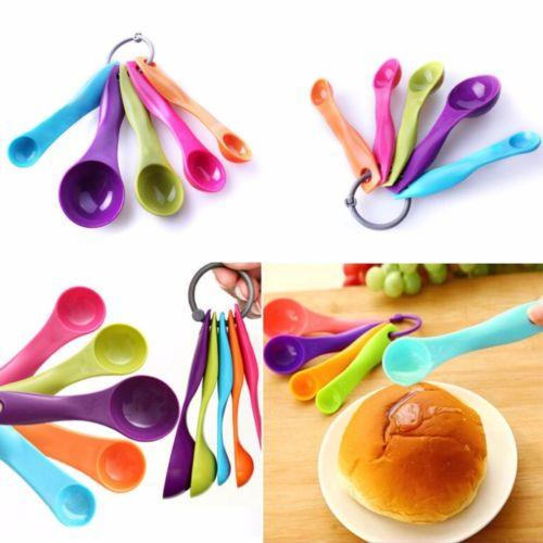 5 Pcs Colorful Plastic Measuring Spoons Set Kitchen Utensil Cooking Baking Tool  3611 (Large Letter Rate)