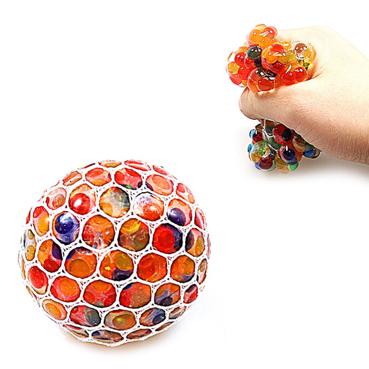 Childrens Kids Mesh Squishy Stress Relief Multi Coloured Ball   4973