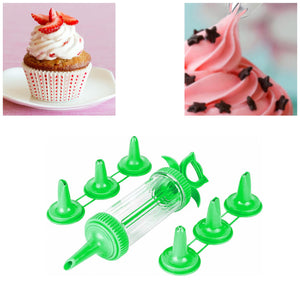 Plastic Icing Tube With 6 Nozzles Attached In Green 9266 (Parcel Rate)