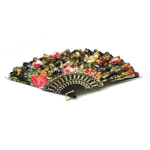Chinese Folding Black Frame Peony Pattern Nylon Handheld Mini Folding Hand Fan 37cm 0915 (Parcel Rate)