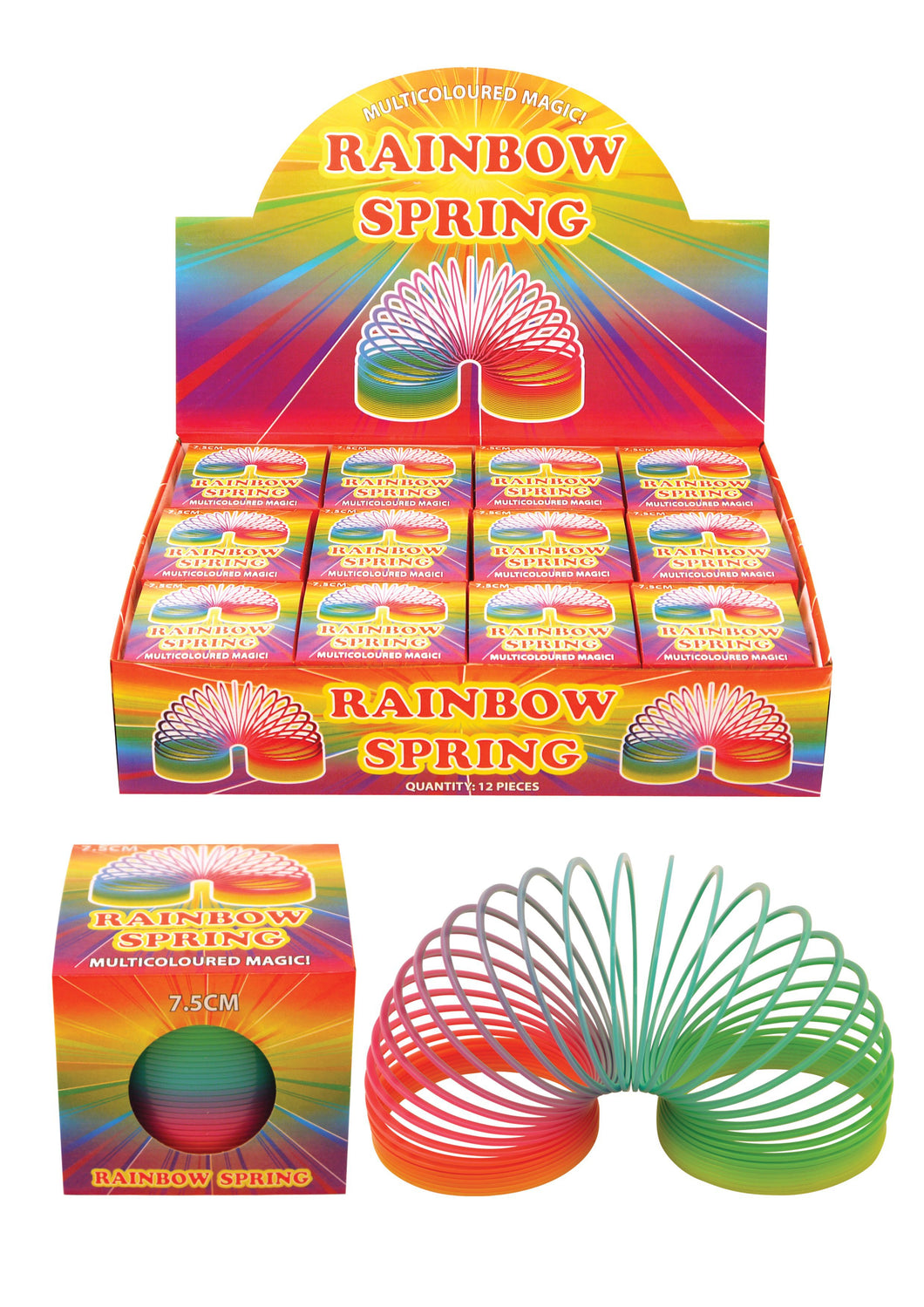 Childrens Playing Rainbow Springing Bouncy Spring 7.5cm  N19051 (Parcel Rate)