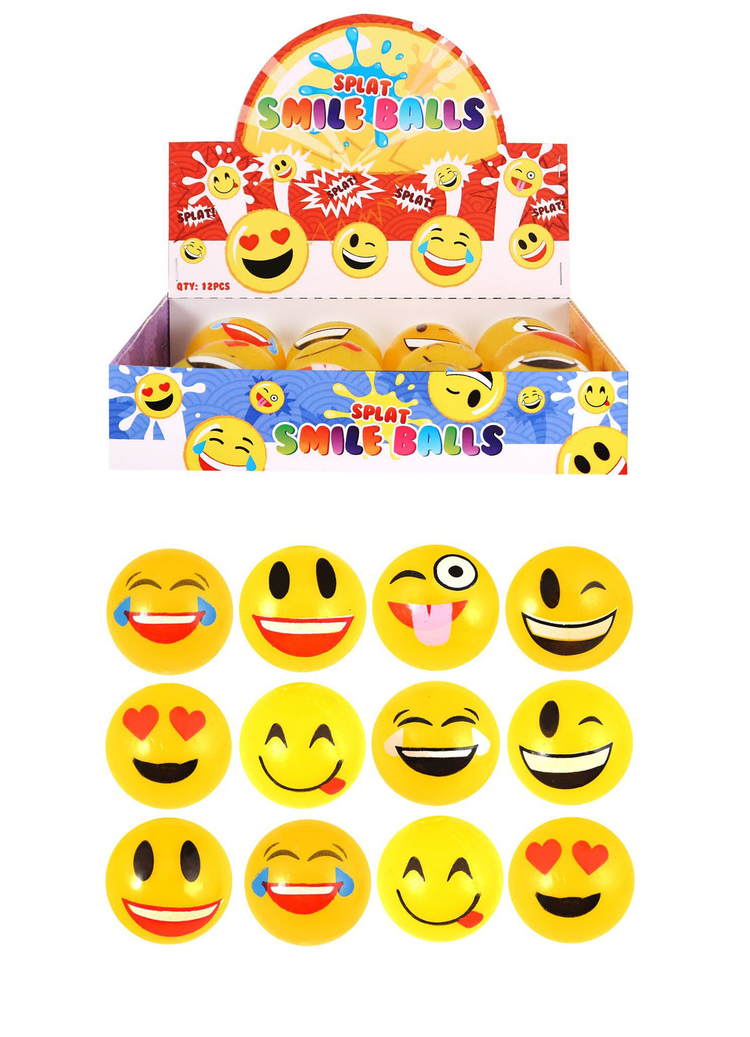 Emoji Splodgers Splatter Face Squeeze Squish Sticky Stress Splat Ball 6cm N21038 (Parcel Rate)