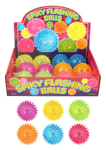 Spiky Flashing Bouncing Balls Light Up Suitable For Pets and Childrens Toy Small 6.5cm N51269 (Parcel Rate)