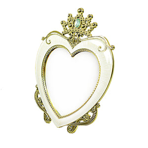 Vintage Retro Heart Shaped Photo Frame With Crown Detail  20cm 4062 (Parcel Rate)