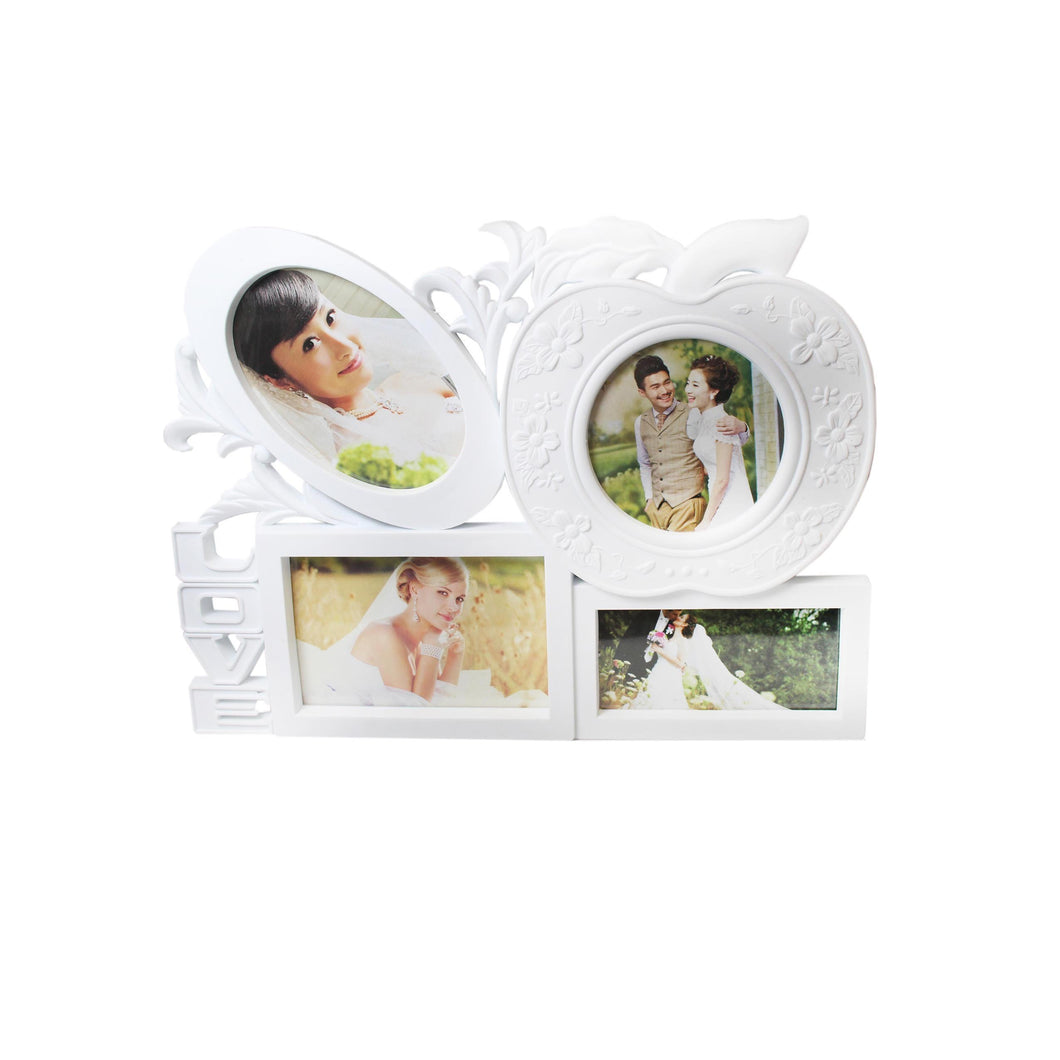 White Beautiful 4 Picture Photo Frame 'Love' Style Frame 4163 (Parcel Rate)