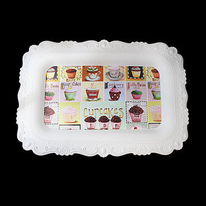 Embossed Plastic Serving Tray With Cupcakes Prints 38 x 25cm 4969 (Parcel Rate)