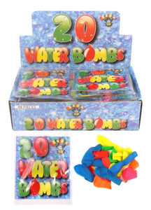 20 Pack Outdoor Kids Assorted Neon Colour Water Bombs Summer Fun R19111 (Large Letter Rate)
