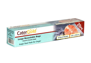 Cater Gold Freezer Large Zipper Seal Bags for Food and Storage 250 x 250mm 20 Pack ST21718 (Parcel Rate)