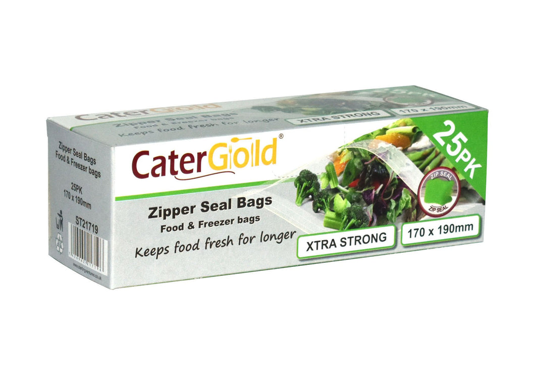 Cater Gold Freezer Large Zipper Resealable Seal Bags for Food and Storage 170 x 190mm 25 Pack ST2119 (Parcel Rate)
