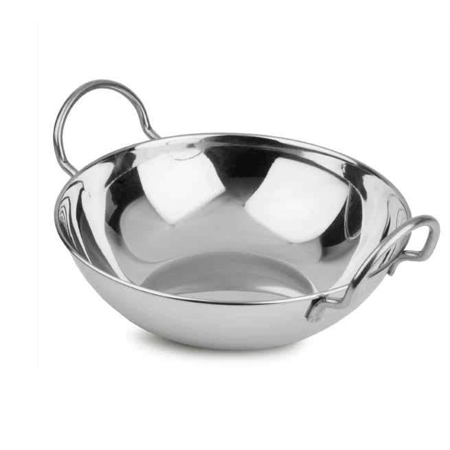 Stainless Steel Curry Indian Balti Food Serving Dish With Handle 18cm 2560 (Parcel Rate)