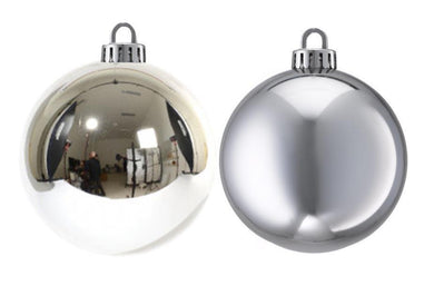 Christmas Decoration Silver Style Baubles Festive Christmas Balls 2 Pack 10cm 1446 (Parcel Rate)