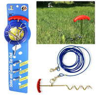 30ft Dog Tie Out Cable and Stake Set Small Large Dog Ground Field Spike Stake   2029