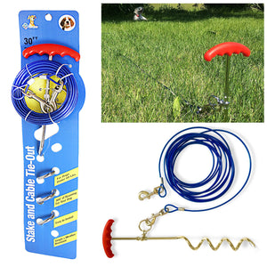 30ft Dog Tie Out Cable And Stake Set Small Large Dog Ground Field Spike Stake 2020 (Parcel Rate)
