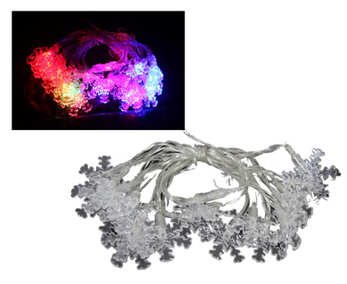 Snow Flake Assorted Colour Multicolour Lights Flake Shaped 2.6M Battery Operated 5443 (Parcel Rate)
