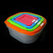 Load image into Gallery viewer, Set Of 4 Plastic Containers Assorted Colour Lids Storage 0401 (Parcel Rate)